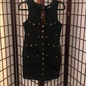 Black mini dress with gold buttons